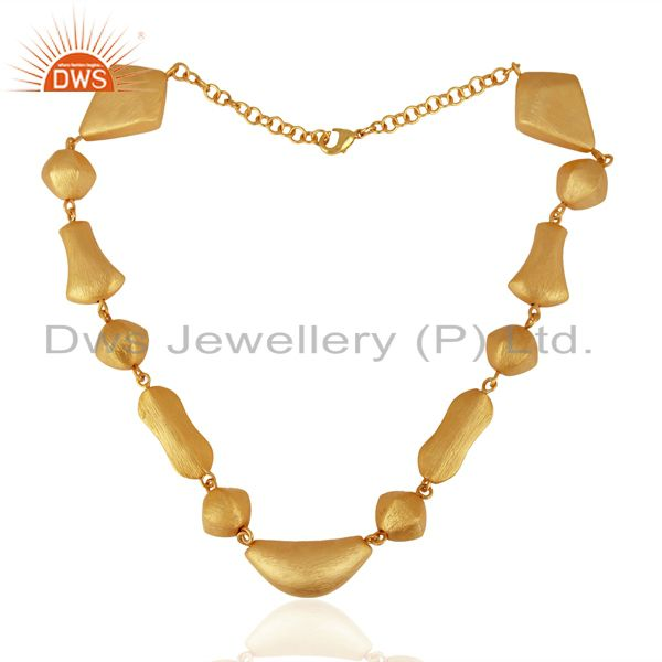 Exporter Brushed Finish 24K Yellow Gold Plated Brass Designer Statement Necklace