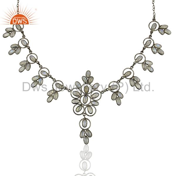 Exporter Rhodium Plated Rainbow Moonstone Fashion Necklace Jewelry Manufacturer