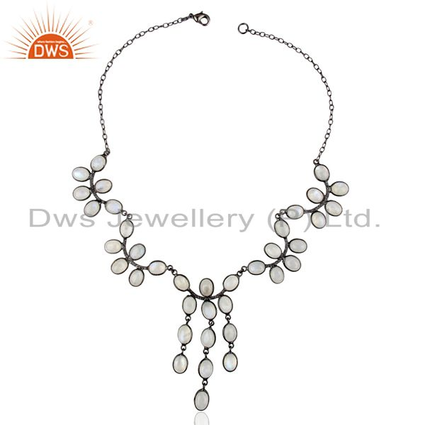 Exporter Natural Rainbow Moon Stone Black Oxodized Flower Pattern Wholesale Necklace