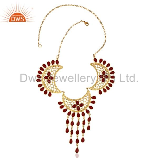 Exporter Hydro Pink Gemstone Gold Plated Designer Fashion Necklace Jewelry