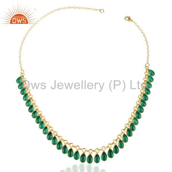 Exporter 14k Gold Plated Traditional Handmade Hydro Green Fashion Necklace Jewelry