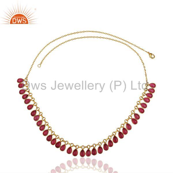 Exporter Pink Gemstone Handmade Gold Plated Brass Fashion Necklace Manufacturer