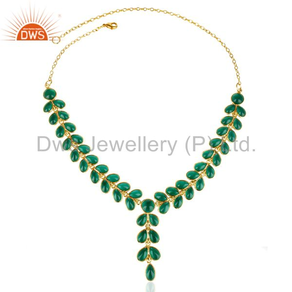 Exporter 14K Gold Plated Traditional Handmade Hydro Emerald Bezel Set Fasshion Necklace