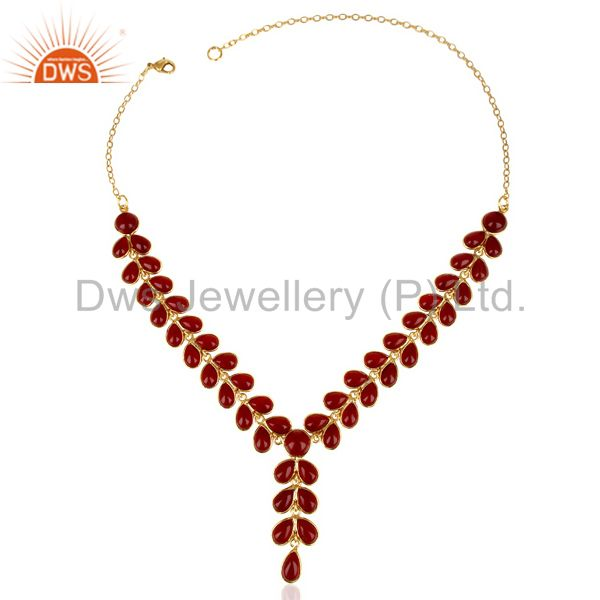 Exporter Hydro Red Quartz Bezel Set 14K Yellow Gold Plated Chain Necklace Brass Jewelry