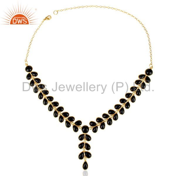 Exporter Black Onyx Bezel Set 14K Yellow Gold Plated Chain Necklace Brass Jewelry