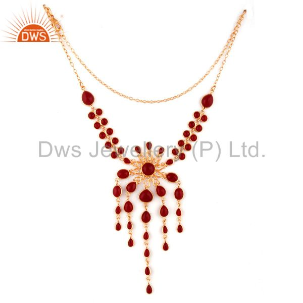 Exporter 24k Yellow Gold Plated Glass Red Gemstone Handmade Designer Necklace Jewelry