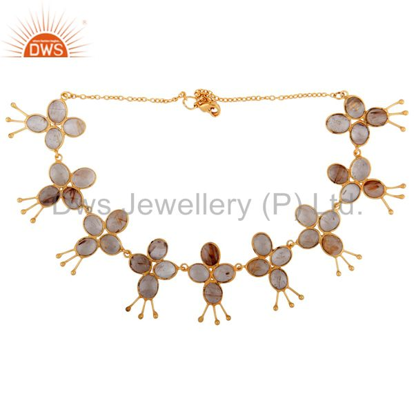 Exporter Designer Angel Wing 18k Gold Plated Rutilated Quartz Stone Womens Fashion Neck