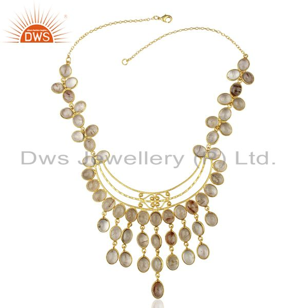Exporter Matte Finish Gold Plated Handcrafted Rutile Quartz Spiral Wire Necklace Jewelry