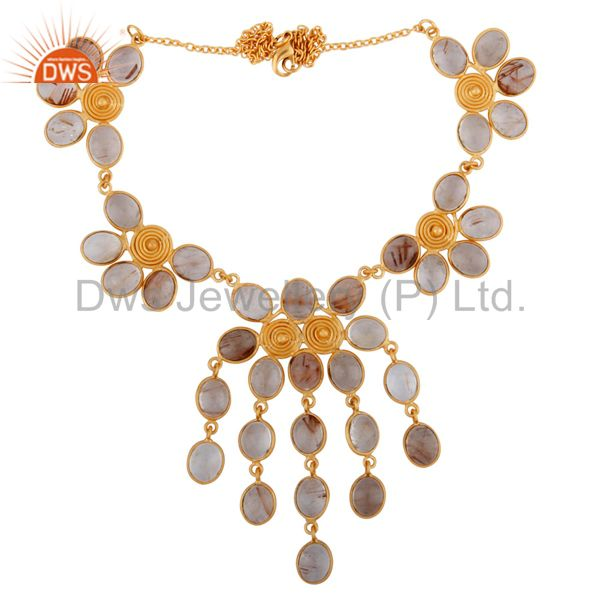 Exporter 18k Yellow Gold Plated Wire Wrapped Spiral Rutilated Quartz Necklace