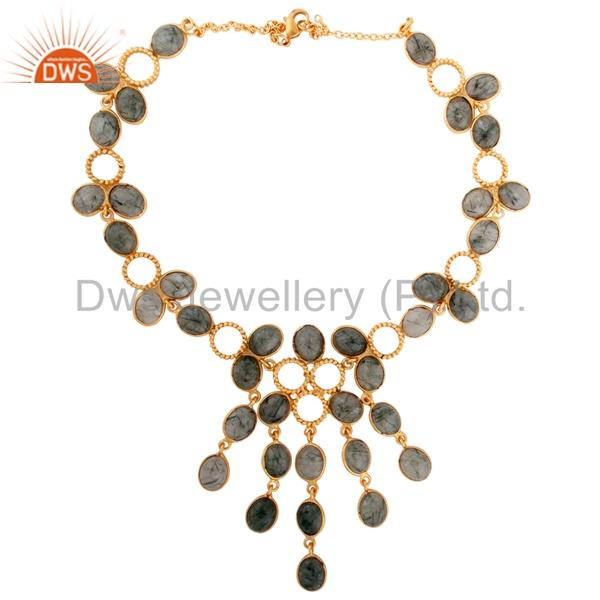 Exporter Solid Brass Over 18k Yellow Gold Plated Twisted Wire Black Rutilated Quartz Nec