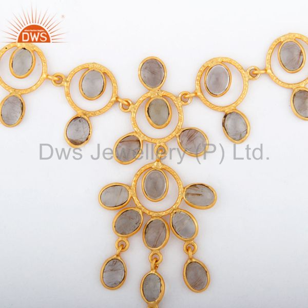 Exporter Indian Solid Hand Hammered 18K Gold GP Rutilated Quartz Necklace Jewellery