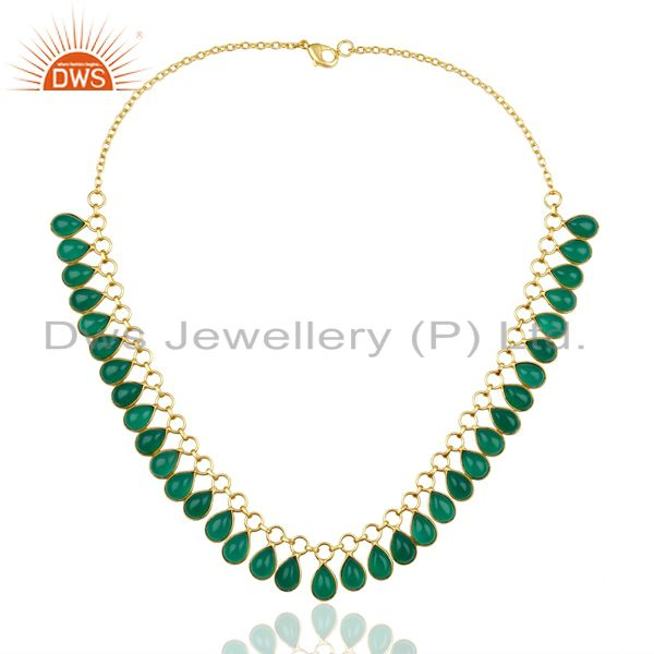 Exporter full Neck Pattern Green Onyx Gemstone 14K Gold Plated Fashion Wholesale Necklace