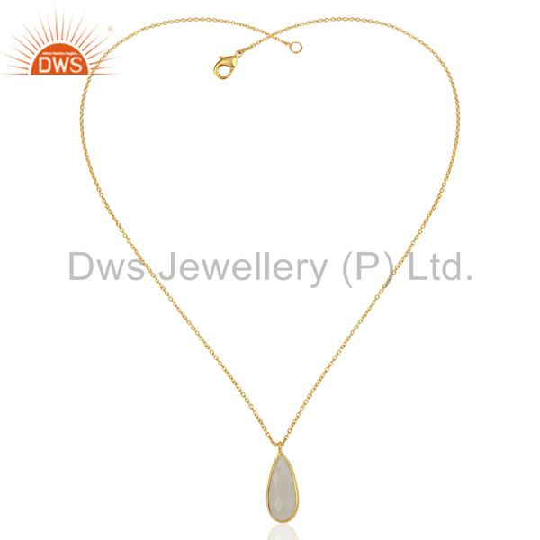 Exporter Rainbow Moonstone 18K Yellow Gold Plated Brass Chain Pendant Necklace Jewelry