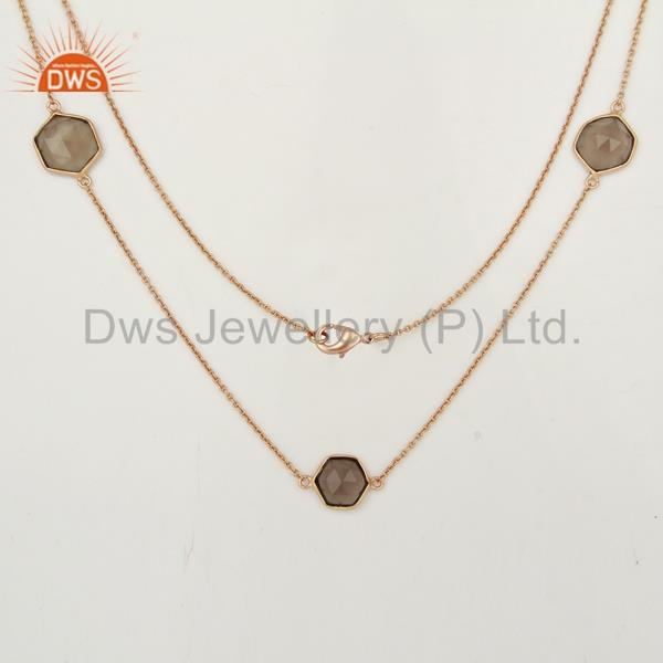 Exporter Smoky Topaz Bezel Set Rose Gold Plated Brass Fashion Jewellery Long Necklace