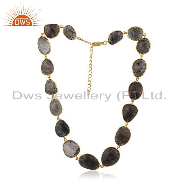 Exporter Black Rutile Beaded Gemstone Wholesale Brass Fashion Necklace Jewelry