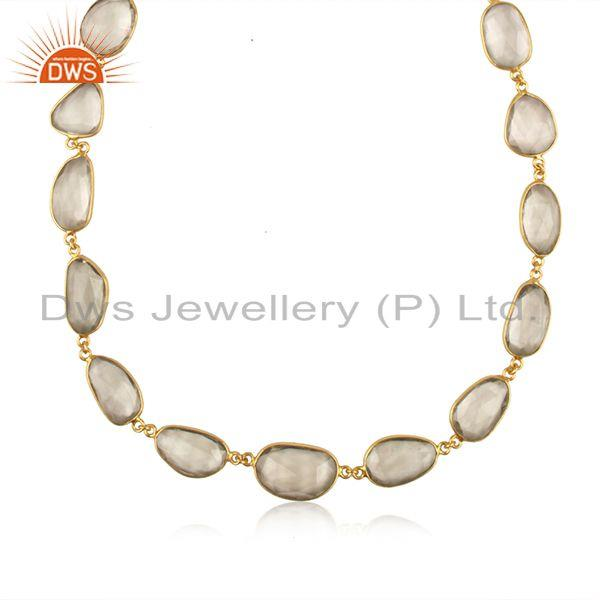 Exporter Green Amehyst Gemstone Gold Plated Brass Fashion Necklace Manufacturer India