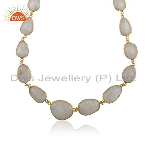 Exporter Rainbow Moonstone Brass Fashion Gold Plated Necklace Manufacturer India