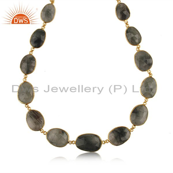 Exporter Multi Rutile Gemstone Gold Plated Brass Fashion Necklace Manufacturer Jaipur