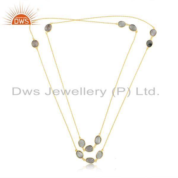 Exporter Multi Gemstone Gold Plated Brass Fashion Necklace Manufacturer India