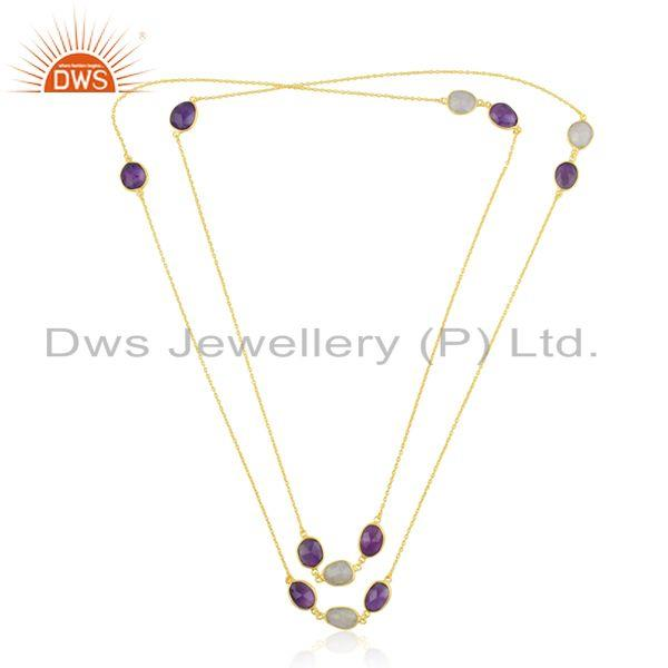 Exporter Gold Plated Brass Fashion Multi Gemstone Designer Chain Necklace Wholesale
