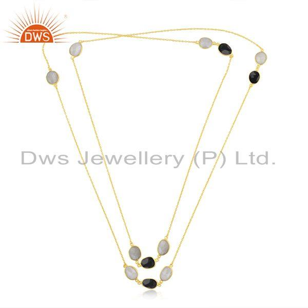 Exporter Multi Gemstone Gold plated Brass Fashion Designer Chain Neckalce Wholesaler