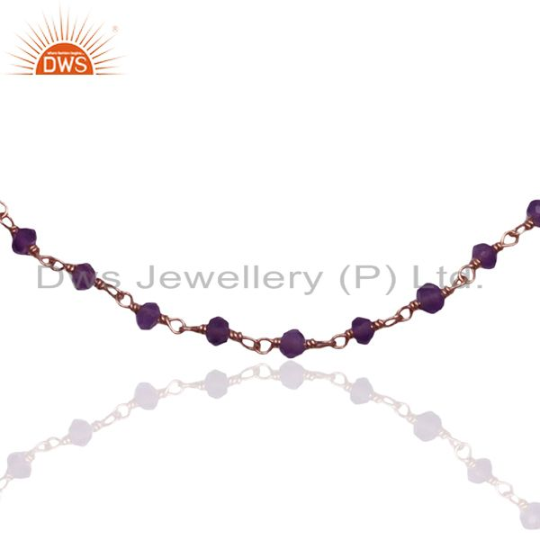 Exporter Beaded Amethyst Gemstone Rose Gold Plated 925 Silver Bracelet For Girls Jewelry