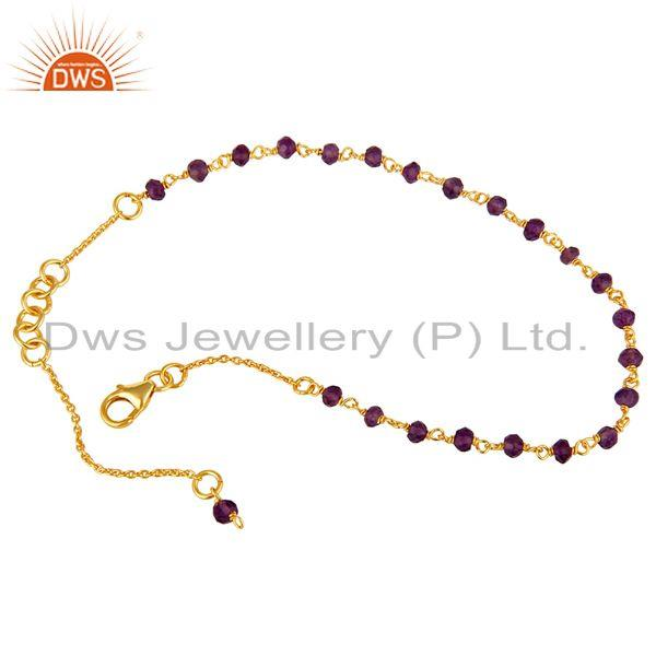 Exporter 18K Yellow Gold Plated Sterling Silver Amethyst Beaded Chain Bracelet