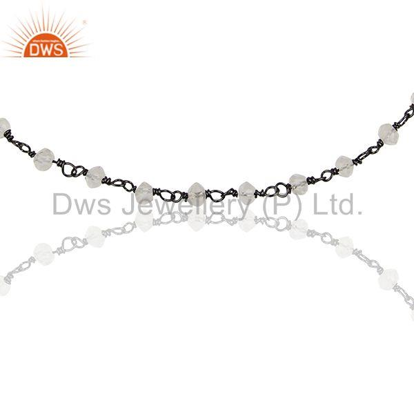 Exporter Beaded Crystal Quartz Black Solid 925 Silver Chain Bracelet Jewelry