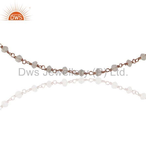 Exporter Rose Gold Plated 925 Silver Beaded Crystal Gemstone Bracelet Jewelry