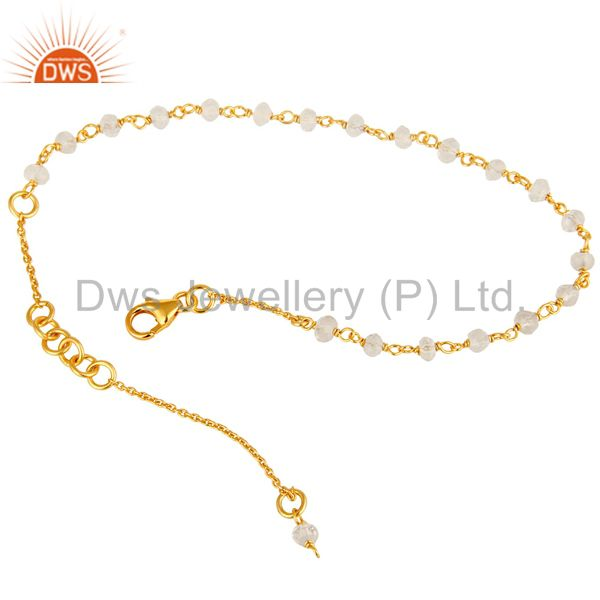 Exporter 18K Yellow Gold Plated Sterling Silver Crystal Quartz Beaded Chain Bracelet