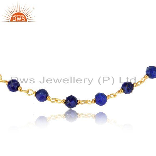 Handcrafted lapis bead bracelet in yellow gold on silver