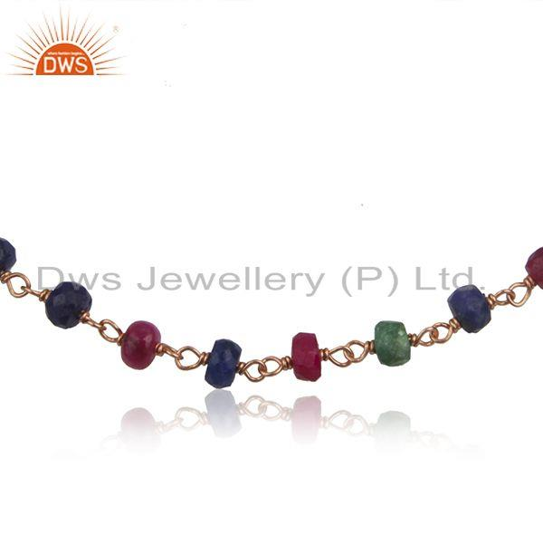 Exporter Rose Gold Plated Silver Multi Stone Beaded Bracelet Jewelry Supplier