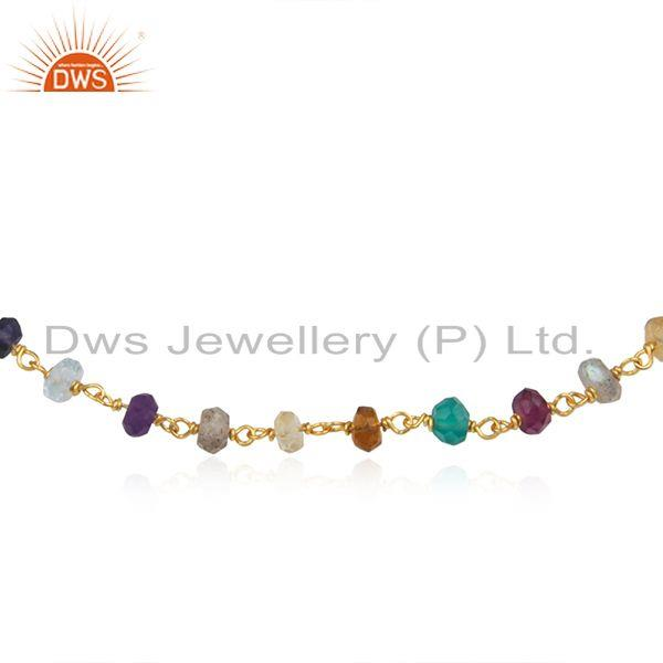 Exporter 18K Yellow Gold Plated Sterling Silver Multi Colored Gemstone Beaded Bracelet