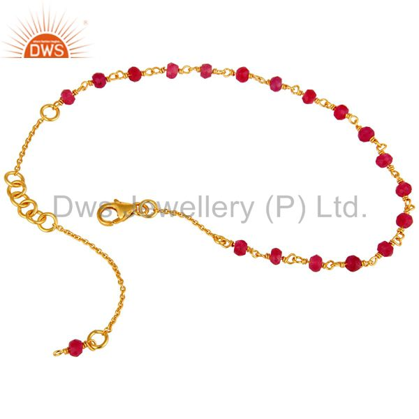 Exporter 18K Gold Plated Sterling Silver Natural Red Aventurine Gemstone Beaded Bracelet