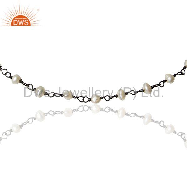 Exporter Black Rhodium Plated 925 Silver Natural Pearl Beaded Bracelet Jewelry