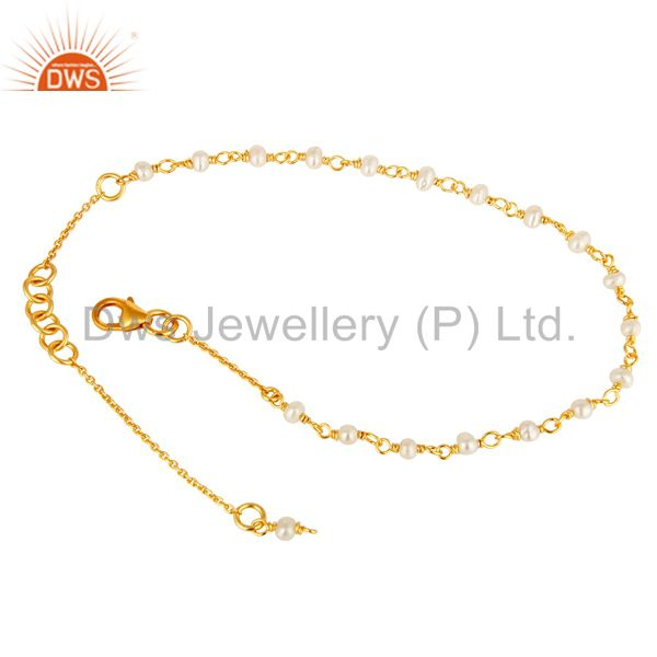 Exporter 22K Yellow Gold Plated Sterling Silver White Pearl Beaded Chain Bracelet