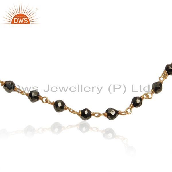 Exporter Beaded Pyrite Gemtsone Gold Plated Sterling Silver Chain Bracelet Wholesale