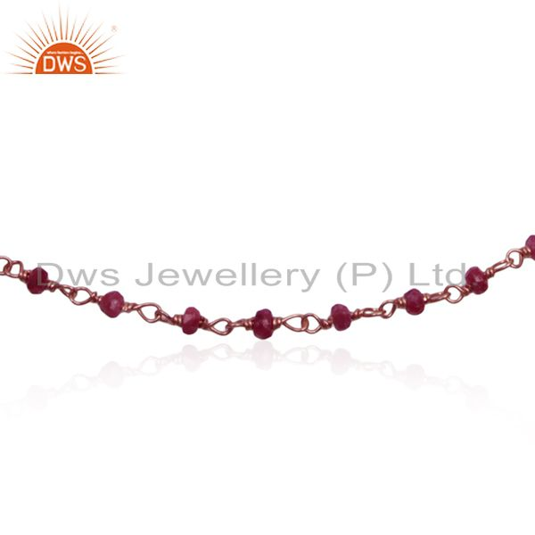Exporter Corundum Ruby Gemstone Rose Gold Plated Silver Beaded Bracelet Wholesale