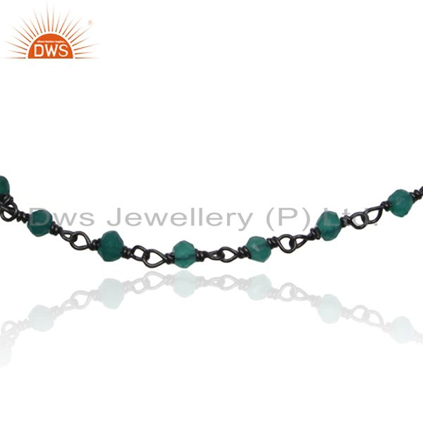 Exporter Green Onyx Beaded Gemstone Black Rhodium Plated 925 Silver Bracelet Suppliers