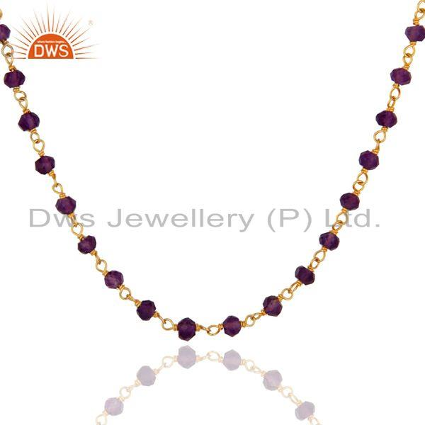 Exporter 18K Gold Plated 925 Sterling Silver Natural Amethyst Gemstone Beads Necklace