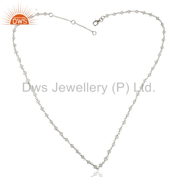 Exporter Handmade White Rhodium 925 Sterling Silver Crystal Quartz Beads Necklace Jewelry