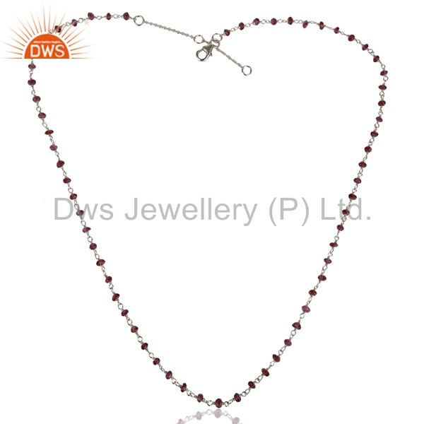Exporter Handmade White Rhodium 925 Sterling Silver Amethyst Beads Necklace Jewelry