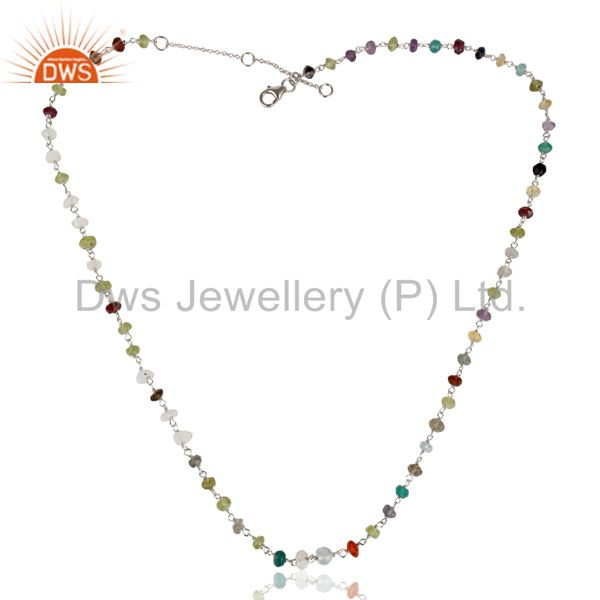Exporter Handmade White Rhodium 925 Sterling Silver Multi Cut Stone Beads Necklace