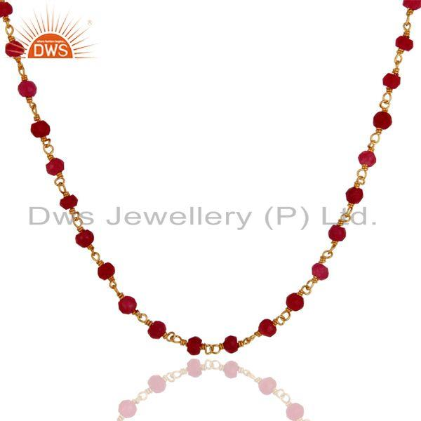 Exporter 18K Gold Plated 925 Sterling Silver Necklace with Red Aventurine Gemstone Beads