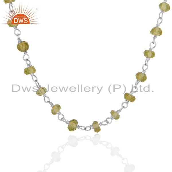 Exporter Natural Peridot White Rhodium 925 Sterling Silver Chain Necklace Jewelry