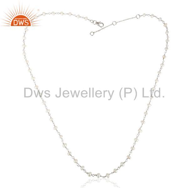 Exporter Natural Pearl White Rhodium 925 Sterling Silver Chain Necklace Jewelry