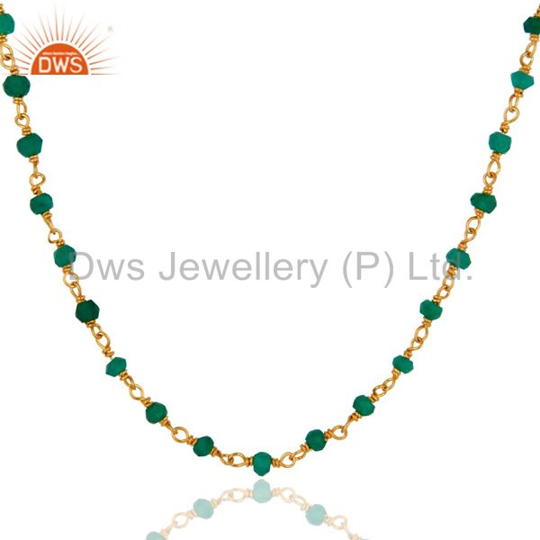 Exporter 925 Sterling Silver Natural Green Onyx Gemstone Beads Necklace With Gold Plated