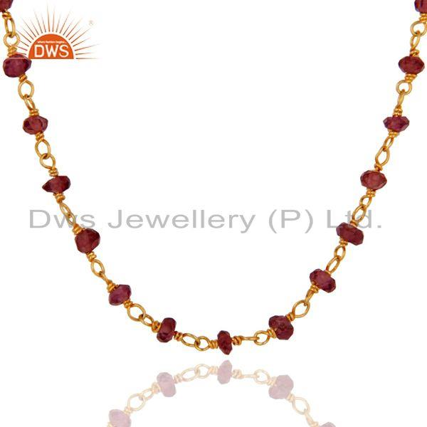 Exporter Handmade 925 Sterling Silver Garnet Gemstone Beads Necklace With Gold Plated