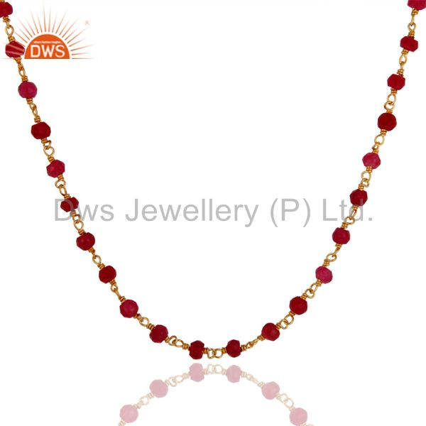 Exporter 18K Gold Plated Sterling Silver Red Aventurine Gemstone Faceted Beads Necklace