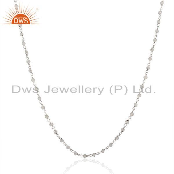 Exporter Beaded Rainbow Moonstone Fine Sterling Silver Necklace Manufacturer